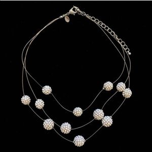 vintage funky white beads-on-wire necklace